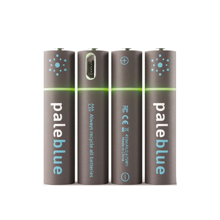 Pale Blue Micro USB Rechargeable AAA Batteries 4 Pack, , hi-res