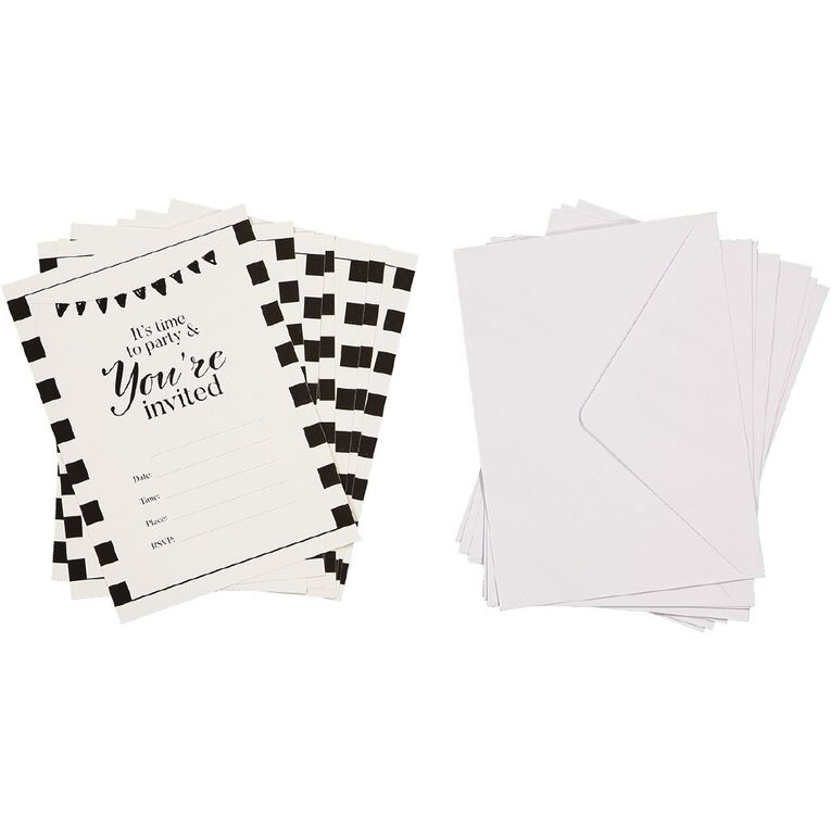 Party Inc Black & White Stripe Invitations with Envelopes 8 Pack, , hi-res