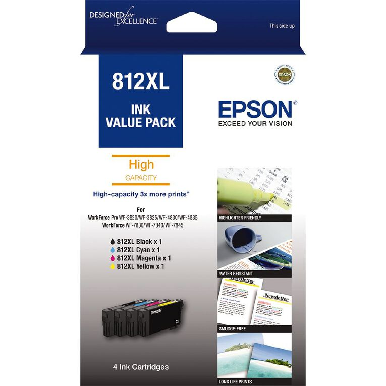 Epson Ink 812XL Value 4 Pack (1100 Pages), , hi-res