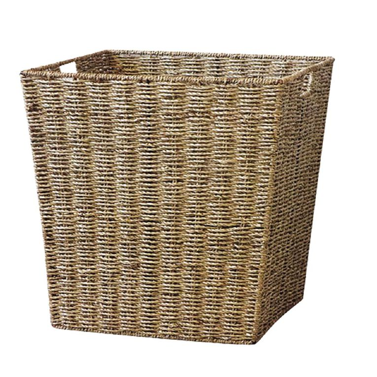 Living & Co Seagrass Square Basket Natural 45cm, , hi-res