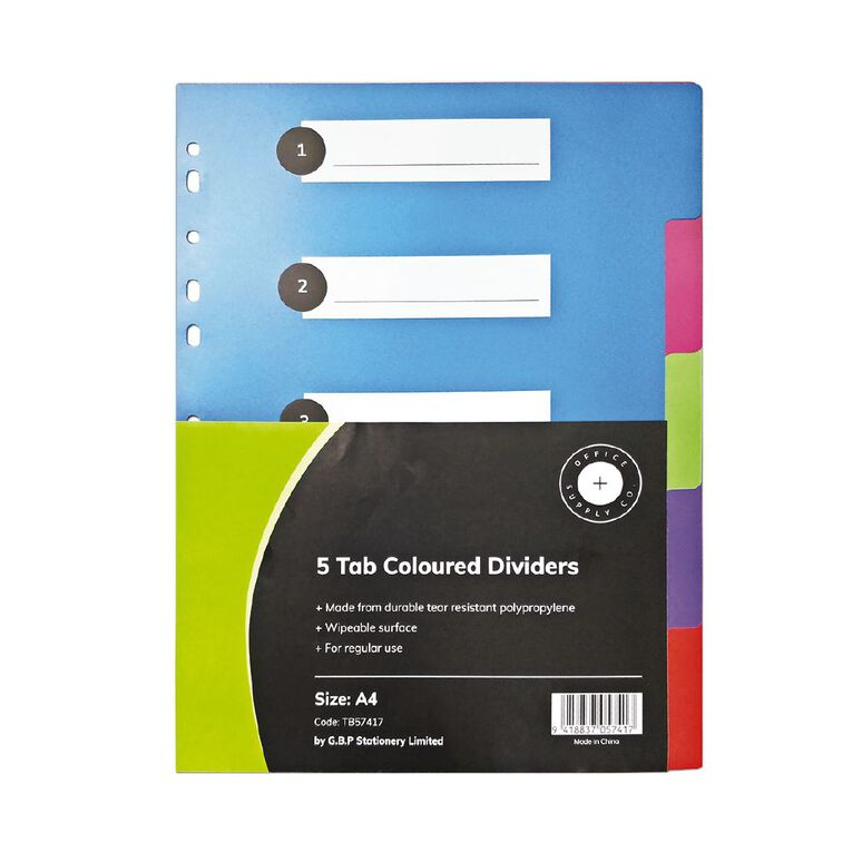 Office Supply Co 5 Tab Coloured Polypropylene Dividers, , hi-res