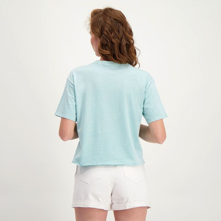 H&H Women's Short Sleeve Cropped Boyfriend Tee, Green Light, hi-res image number null