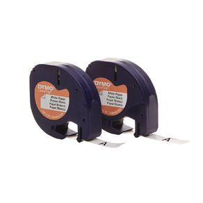 Dymo Letratag Paper Label Tape 12mm x 4m 2 Pack