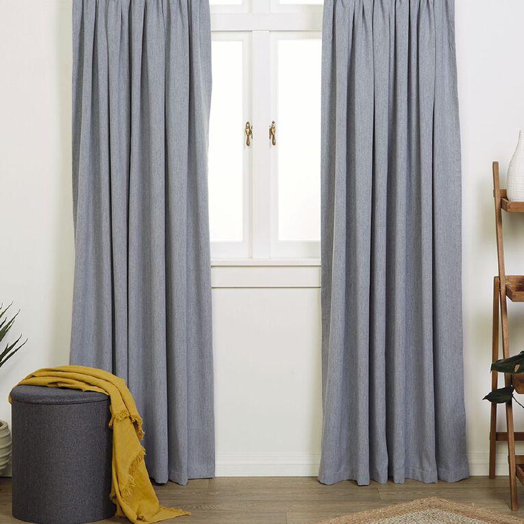 Living & Co Jasper Curtains Denim 230-330cm Wide/205cm Drop, Denim, hi-res