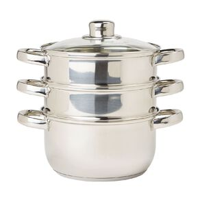Living & Co Stainless Steel Steamer Silver 3 Tier