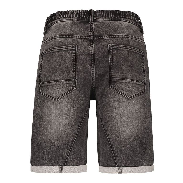 H&H Men's Elasticated Waist Knit Denim Shorts, Black, hi-res