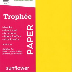 Trophee Paper 80gsm 30 Pack Sunflower Yellow A4