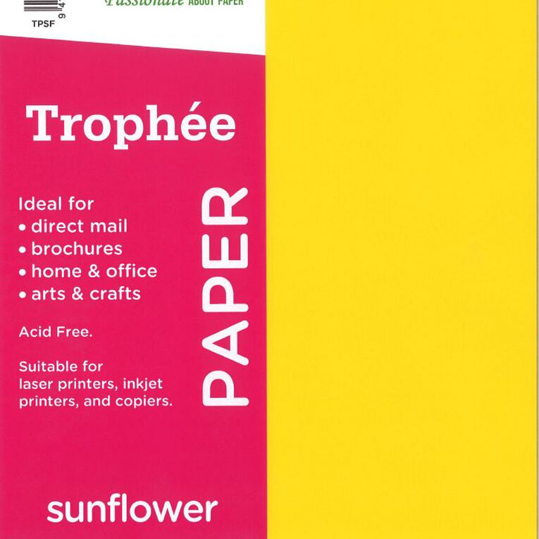 Trophee Paper 80gsm 30 Pack Sunflower Yellow A4, , hi-res
