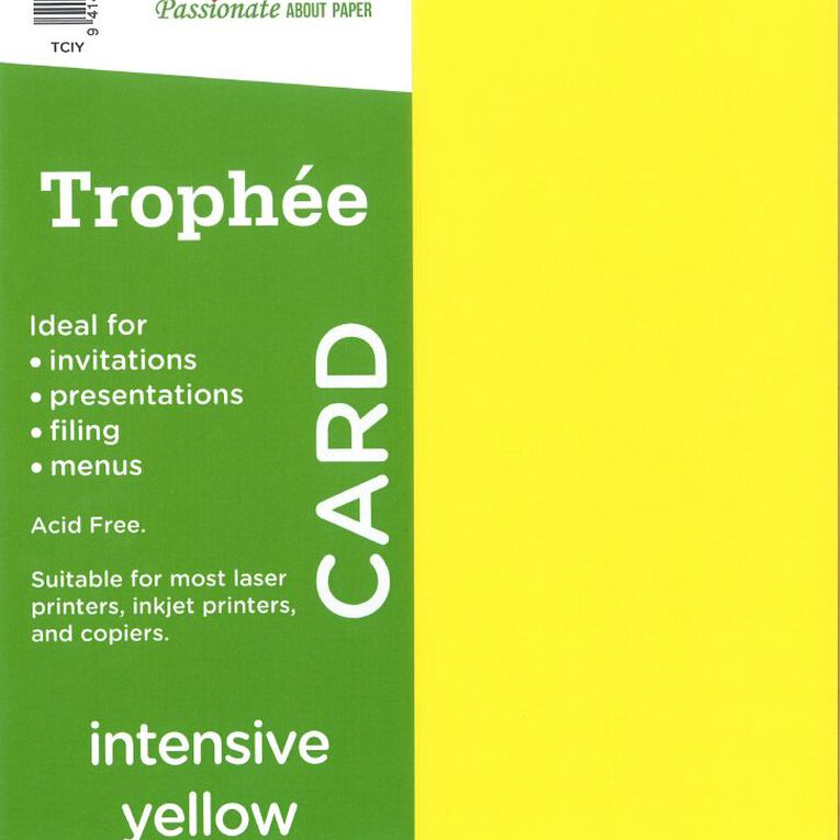 Trophee Card 160gsm 15 Pack Intensive Yellow A4, , hi-res image number null