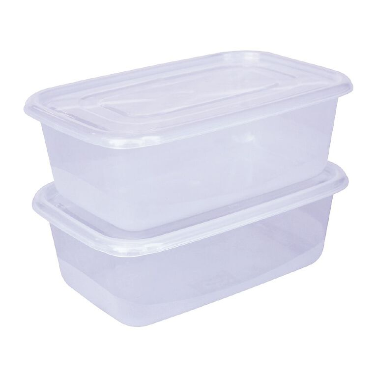 Living & Co Rectangle Food Storage Container 2 Pack Clear 1.45L, , hi-res