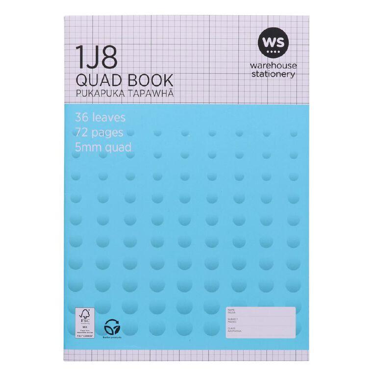 WS Exercise Book 1J8 5mm Quad 36 Leaf Blue, , hi-res