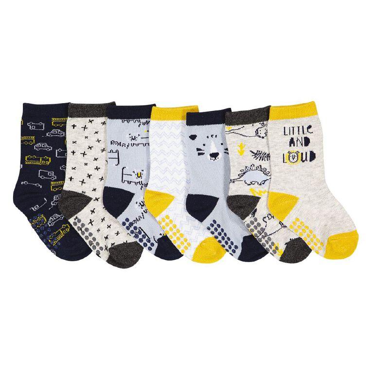 H&H Infants' Patterned Crew Socks 7 Pack, Yellow, hi-res