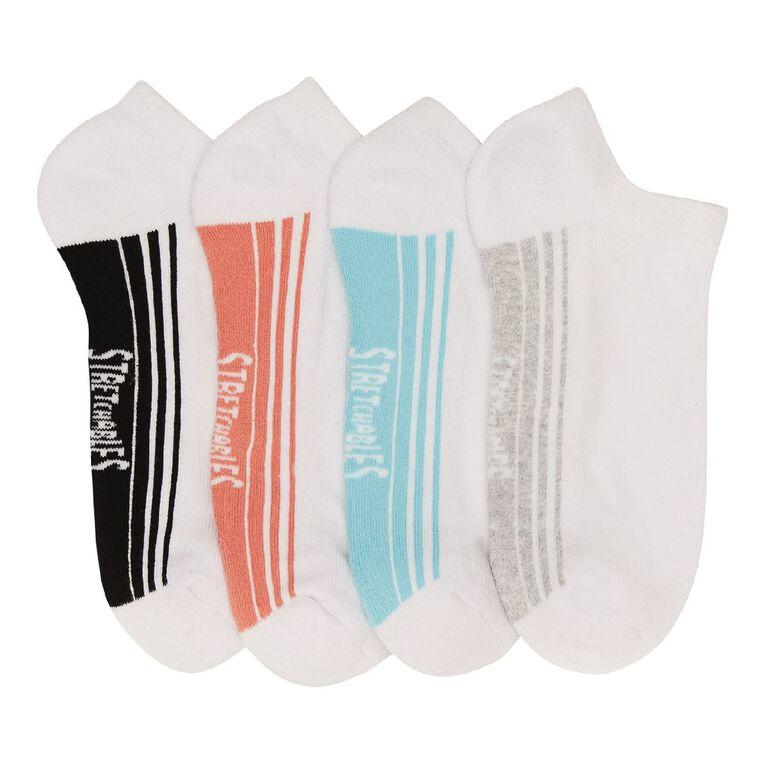 Rio Women's No Show Stretchable Socks 4 Pack, White, hi-res