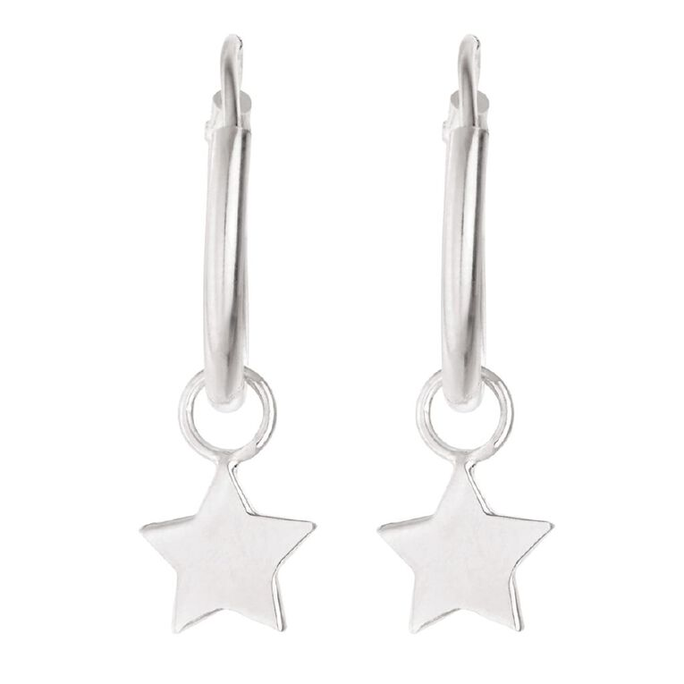 Sterling Silver Star Charm Hoop Earrings, , hi-res
