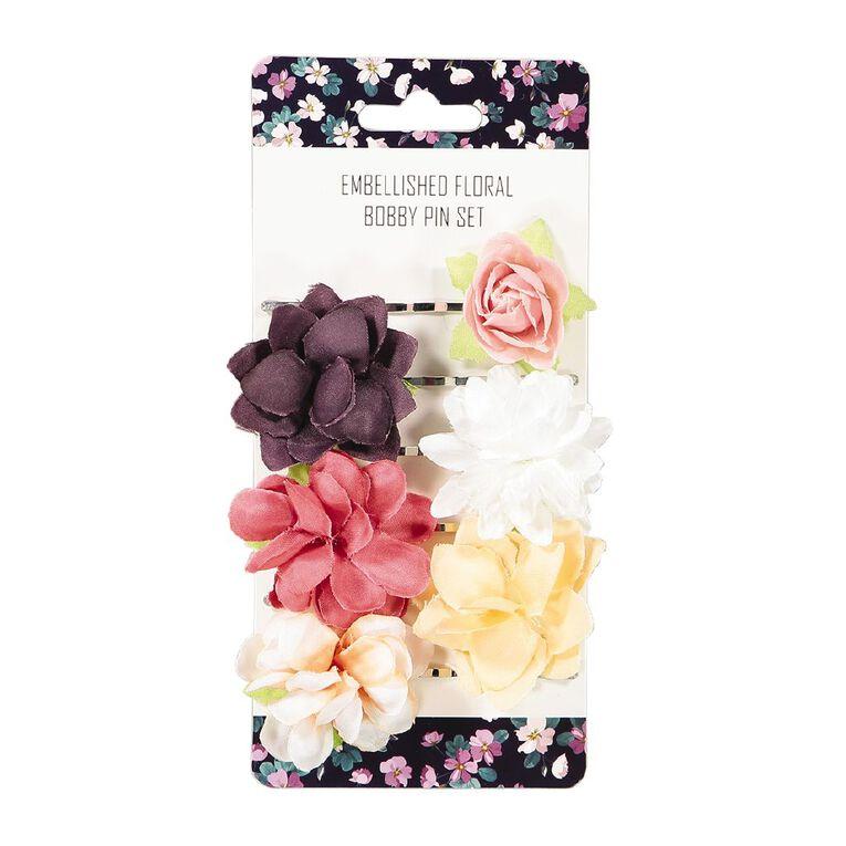 Floral Embellished Bobby Pin 6 Pack, , hi-res