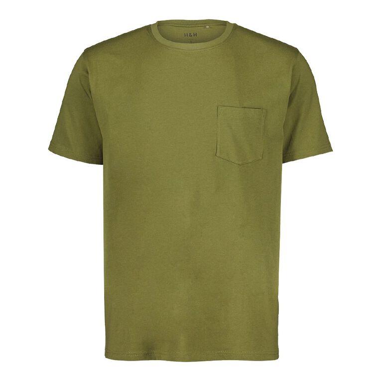 H&H Crew Neck Short Sleeve Pocket Tee, Khaki, hi-res