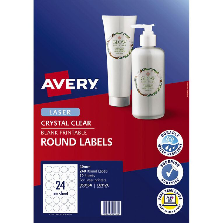 Avery Crystal Clear Round Multi-purpose Labels for Laser Printers 40mm, , hi-res