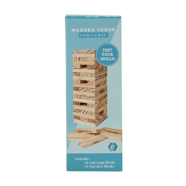 Wooden Block Tower with Action Slogans 60 Pieces, , hi-res