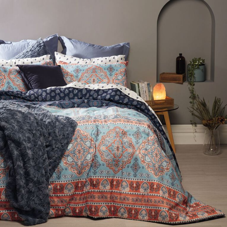 Living & Co Comforter Set 7 Piece Sitar Multi-Coloured Queen, Multi-Coloured, hi-res