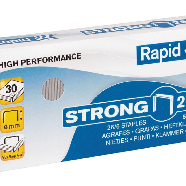 Rapid Staples Strong 26/6 5000 Pack Silver, , hi-res image number null