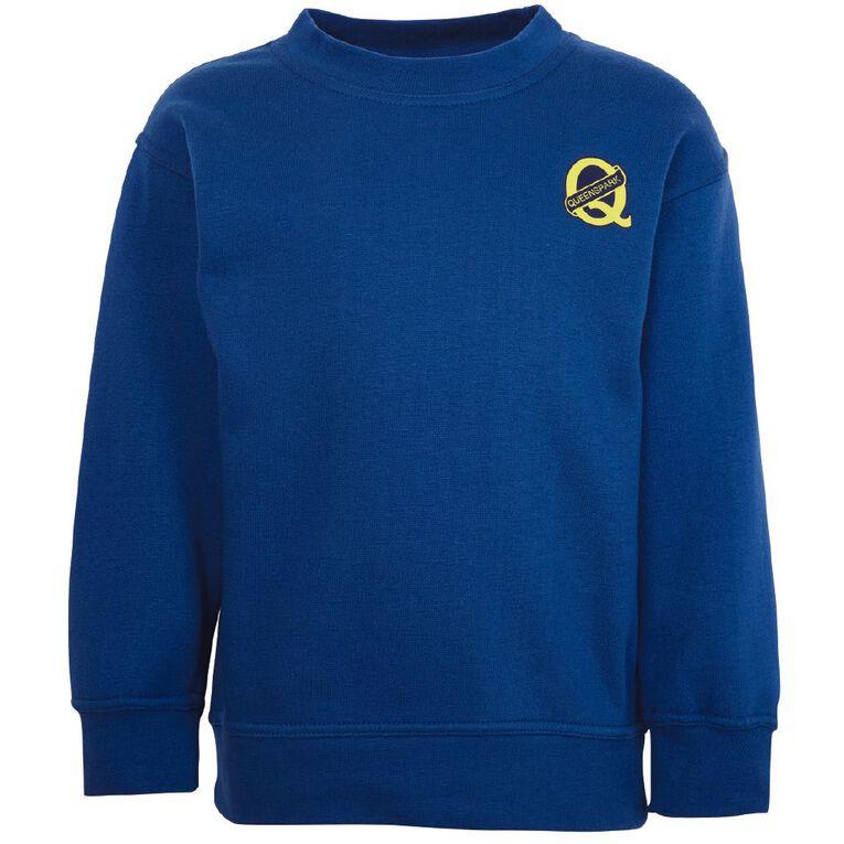 Schooltex Queenspark Sweatshirt with Screenprint, Royal, hi-res