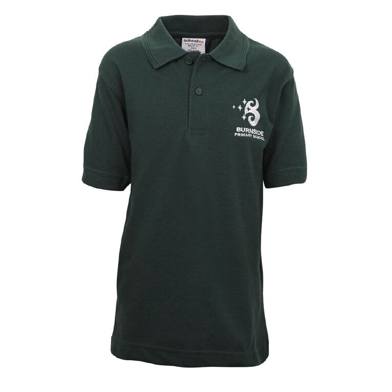 Schooltex Burnside Primary Short Sleeve Polo with Embroidery, Bottle Green, hi-res