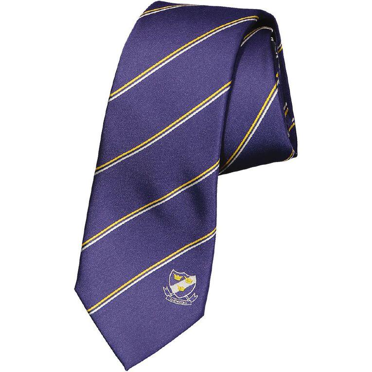 Schooltex Onewhero Strip Tie with Logo, Navy, hi-res