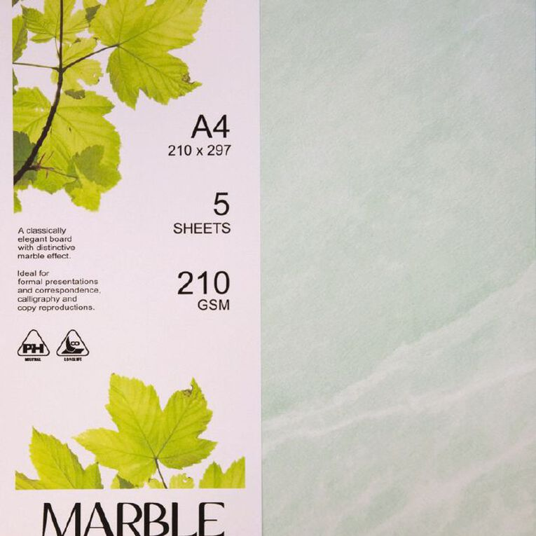 Direct Paper Marble Paper 210gsm 5 Pack Green A4, , hi-res