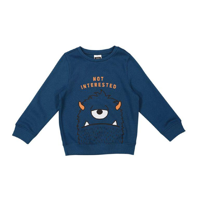 Young Original Crew Print Sweatshirt, Blue Dark, hi-res