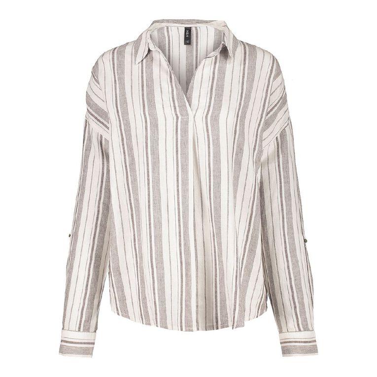 H&H Women's Long Sleeve Tuck Linen Shirt, White, hi-res