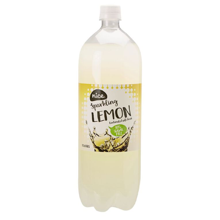 Nice 99% Sugar Free Lemon Carbonated Beverage Drink 1.5L, , hi-res