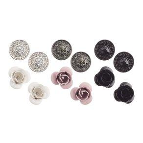 Basics Brand Diamante Flower Stud Earrings 6 Pair Set