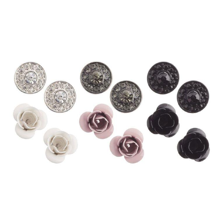 Basics Brand Diamante Flower Stud Earrings 6 Pair Set, Multi-Coloured, hi-res