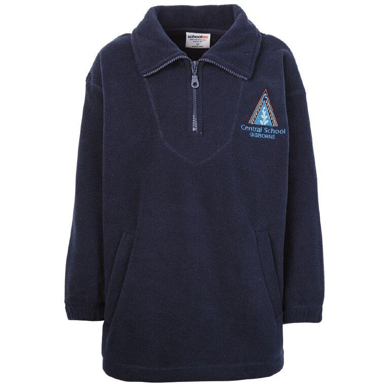 Schooltex Gisborne Central Polar Fleece Top with Embroidery, Navy, hi-res