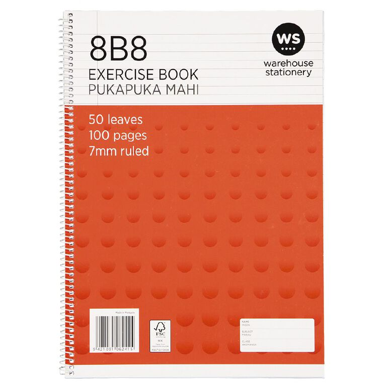 WS Exercise Book 8B8 7mm Ruled Spiral 50 Leaf Wiro, , hi-res image number null