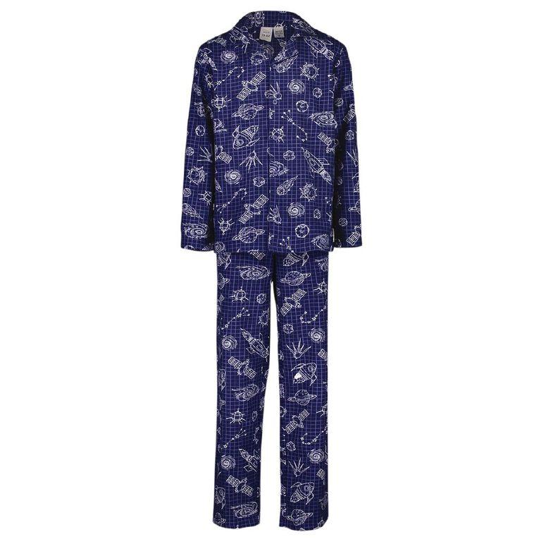 H&H Kids' Flannelette Pyjamas, Navy, hi-res