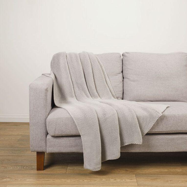 Living & Co Chunky Knit Throw Grey 127cm x 152cm, Grey, hi-res