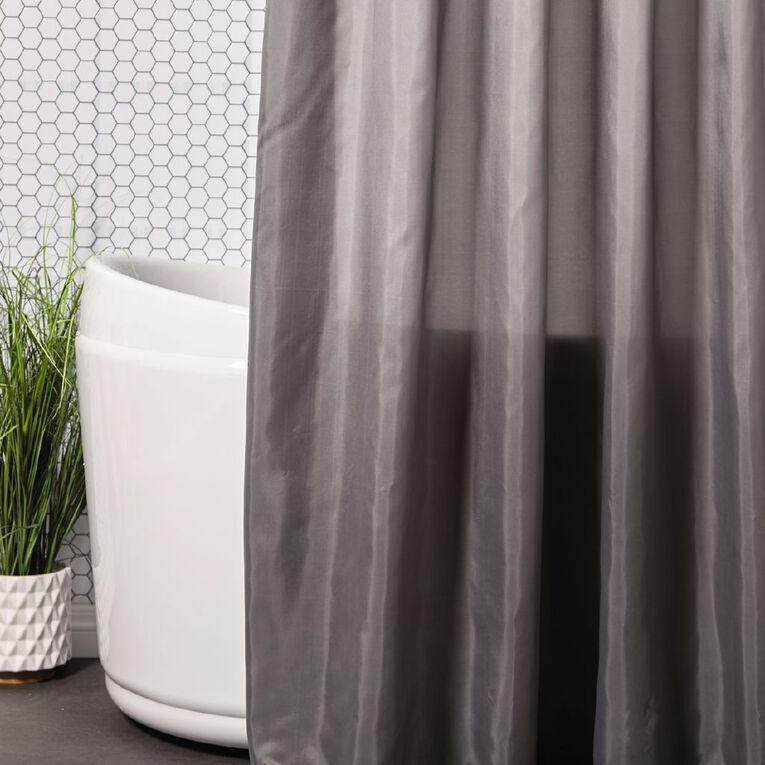 Living & Co Shower Curtain Solid Pewter 180cm x 180cm, Pewter, hi-res