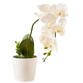 Living & Co Artificial Pot Orchid Flower White White 58cm