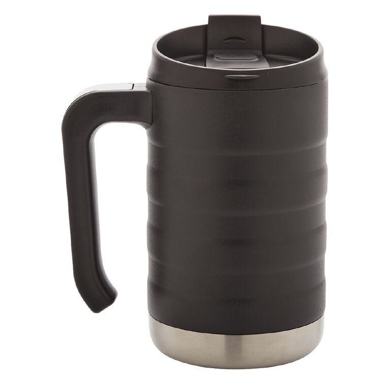 Living & Co Stainless Steel Mug with Handle Black 470ml, , hi-res