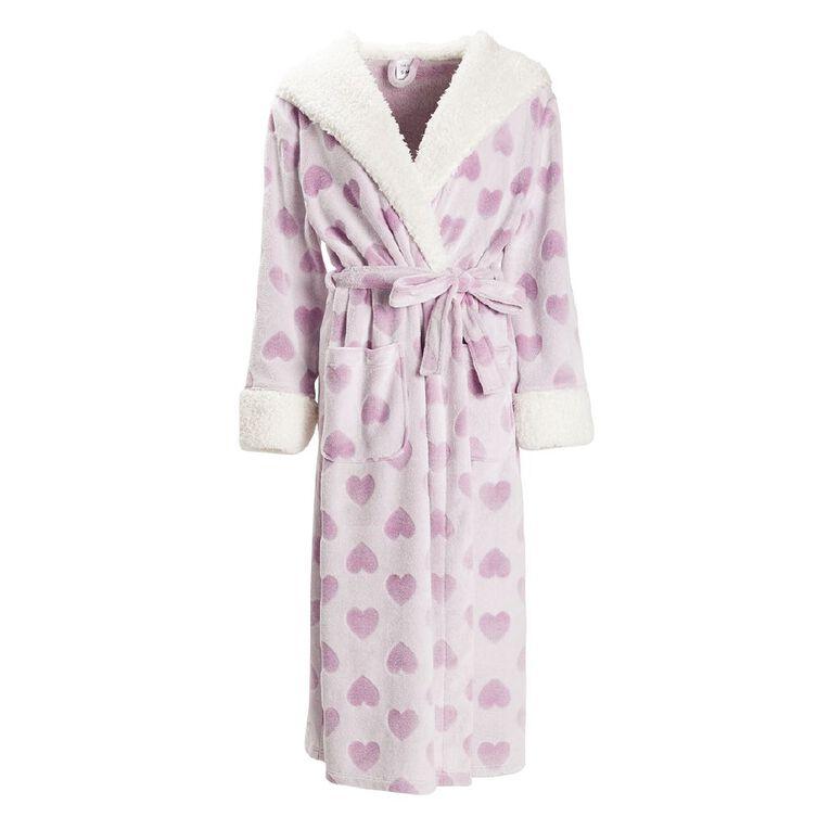 H&H Women's Fleece Heart Hooded Robe, Purple Dark, hi-res
