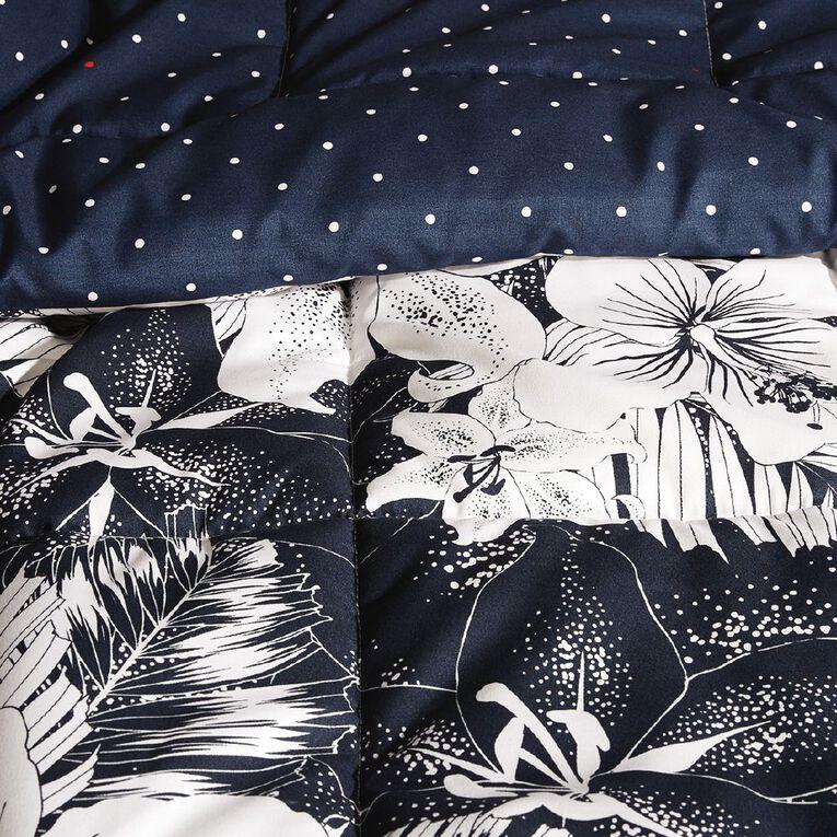 Living & Co Comforter Set 3 Piece Barbados Black/White King, Black/White, hi-res
