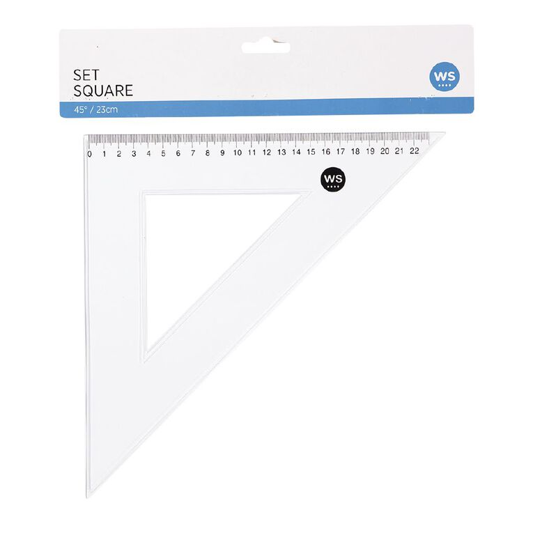 WS Set Square 45 Degree 23cm Clear, , hi-res