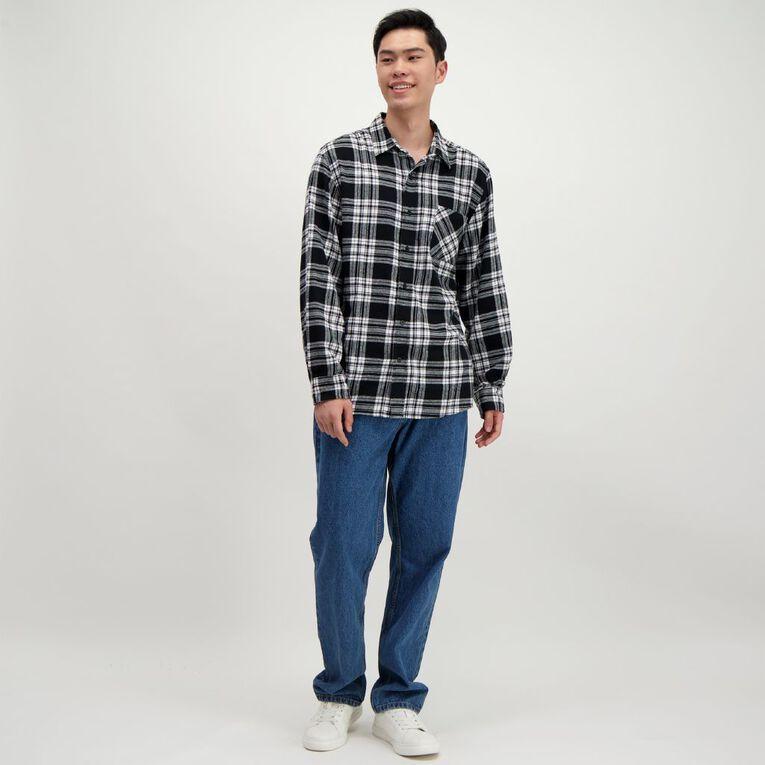 H&H Men's Long Sleeve Flannelette Shirt, Black, hi-res