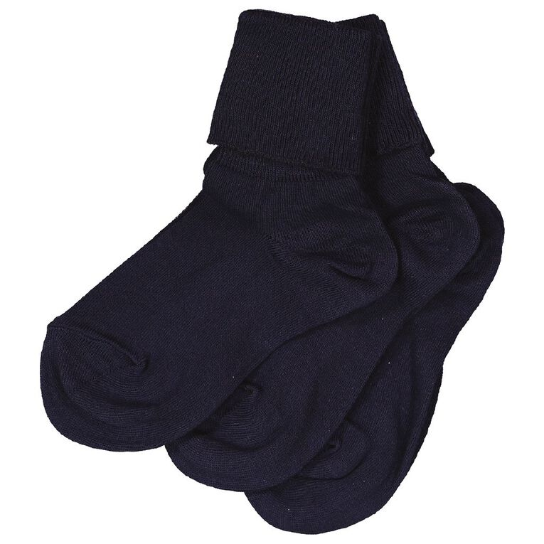Schooltex Cotton Socks 3 Pack, Navy, hi-res