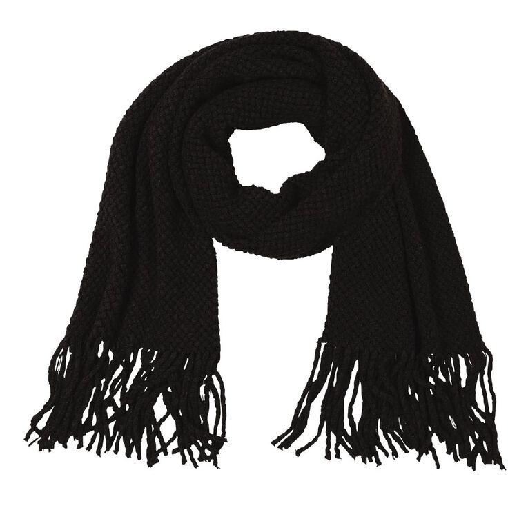 H&H Soft Knit Scarf, Black, hi-res