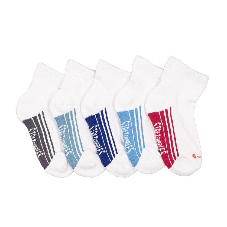 Rio Boys' Stretchables Quater Crew Socks 5 Pack, White, hi-res