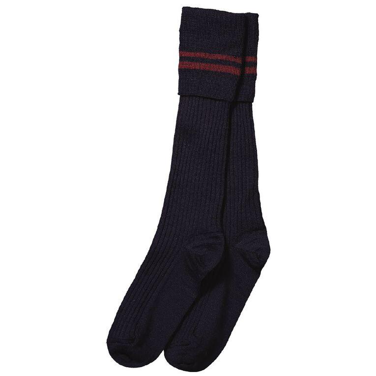 Schooltex 3/4 Socks 2 Stripes Navy/Maroon, NAV/MROON, hi-res