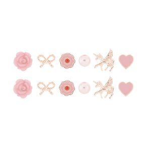 Kids' Flower Bow Unicorn 6 Pair Earrings