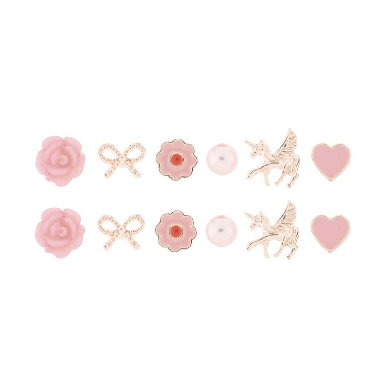 Kids' Flower Bow Unicorn 6 Pair Earrings, , hi-res